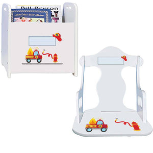 Personalized Fire Truck Book Caddy And Puzzle Rocker baby gift set