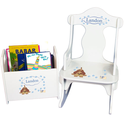 Personalized Blue Puppy Book Caddy And Puzzle Rocker baby gift set