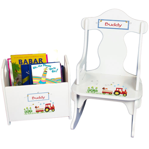 Personalized Red Tractor Book Caddy And Puzzle Rocker baby gift set