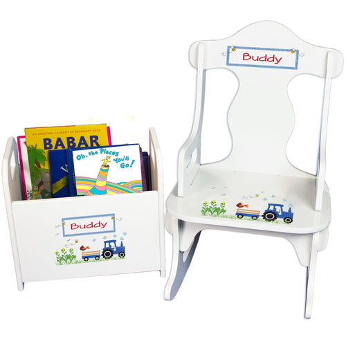 Personalized Puzzle Rocker And Book Caddy baby gift set With Blue Tractor Design