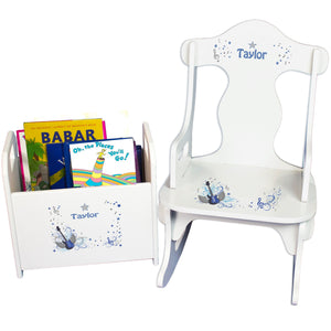 Personalized Blue Rock Star Book Caddy And Puzzle Rocker baby gift set