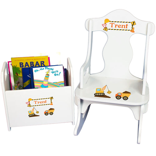 Personalized Construction Book Caddy And Puzzle Rocker baby gift set