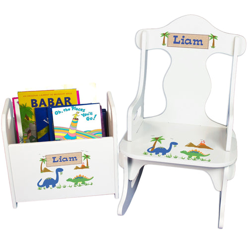 Personalized Dinosaurs Book Caddy And Puzzle Rocker baby gift set