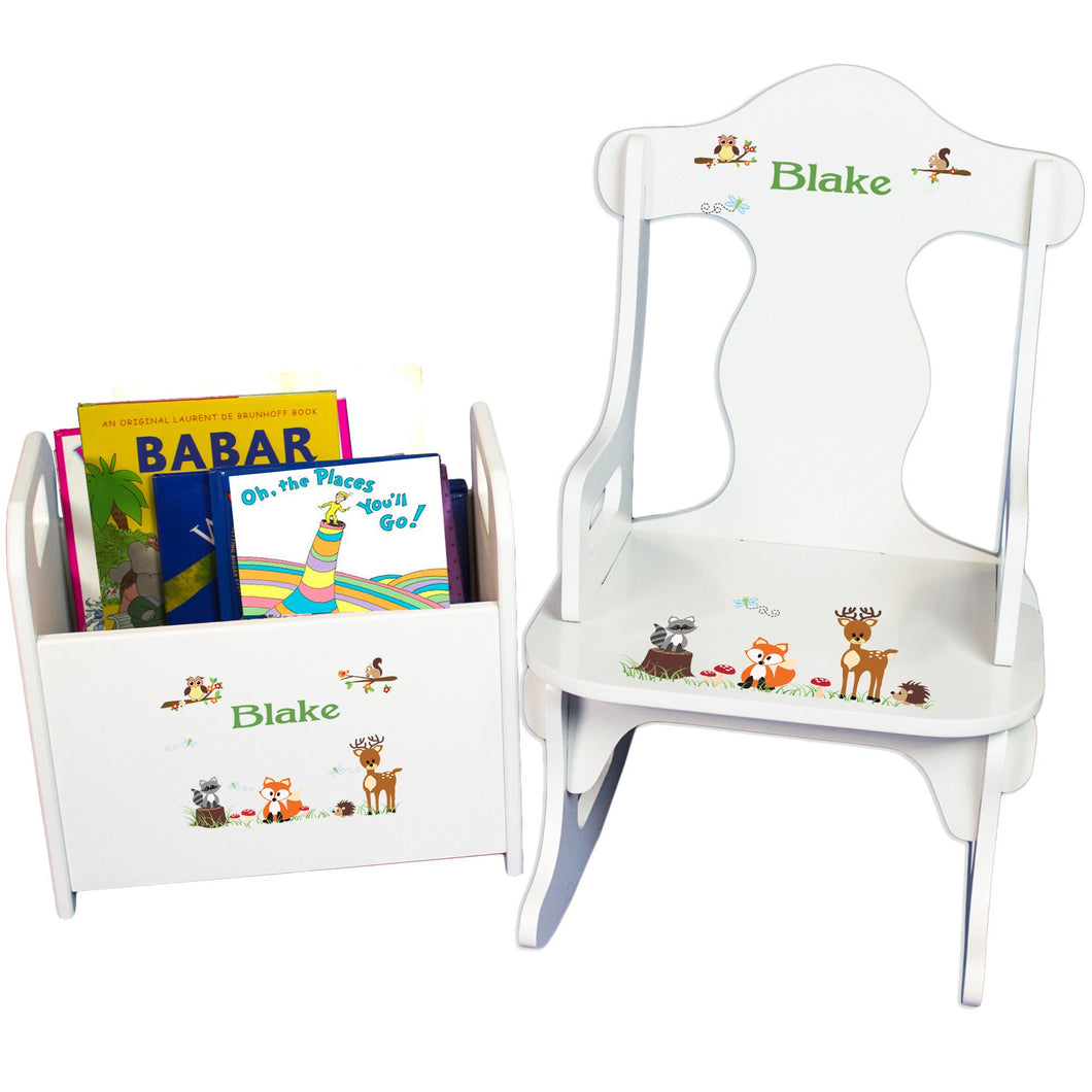 Personalized Green Forest Animal Book Caddy And Puzzle Rocker baby gift set