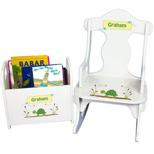 Personalized Turtle Book Caddy And Puzzle Rocker baby gift set