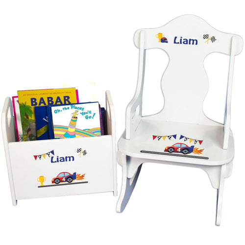 Personalized Race Cars Book Caddy And Puzzle Rocker baby gift set