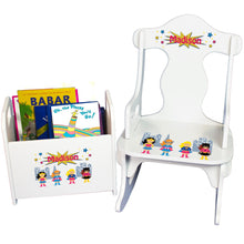 Personalized Girls Superhero Book Caddy And Puzzle Rocker baby gift set