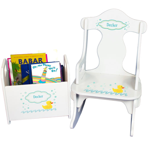 Personalized Rubber Ducky Book Caddy And Puzzle Rocker baby gift set