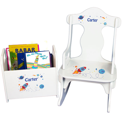 Personalized Rocket Book Caddy And Puzzle Rocker baby gift set
