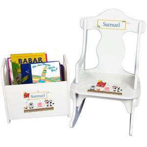 Personalized Barnyard Friends Book Caddy And Puzzle Rocker baby gift set