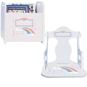 Personalized Puzzle Rocker And Book Caddy baby gift set With Pastel Rainbow Design