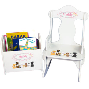 Personalized Pink Dog Book Caddy And Puzzle Rocker baby gift set