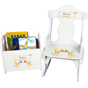 Personalized Giraffe Book Caddy And Puzzle Rocker baby gift set