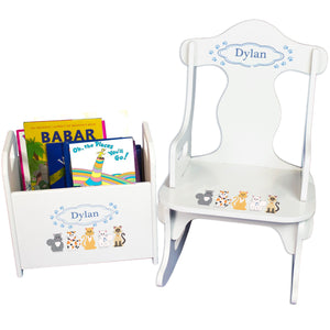 Personalized Blue Cats Book Caddy And Puzzle Rocker baby gift set