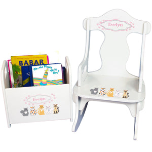 Personalized Pink Cats Book Caddy And Puzzle Rocker baby gift set