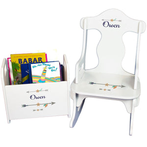 Personalized Tribal Arrows Boy Book Caddy And Puzzle Rocker baby gift set