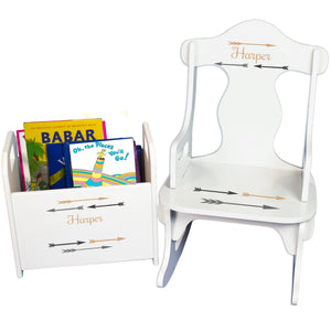 Personalized Arrows Gold And Grey Book Caddy And Puzzle Rocker baby gift set