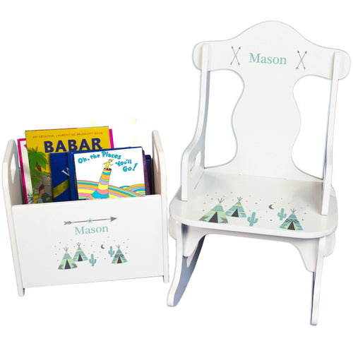 Personalized Puzzle Rocker And Book Caddy baby gift set With Aqua Teepee Design