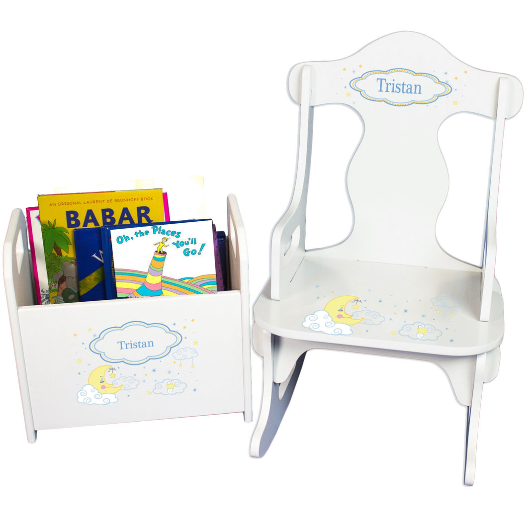 Personalized Puzzle Rocker And Book Caddy baby gift set With Moon And Stars Design