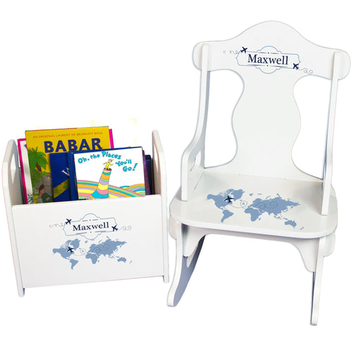 Personalized World Map Blue Rock And Read baby gift set