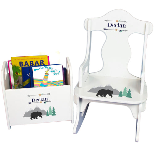 Personalized black Bear Rock And Read baby gift set