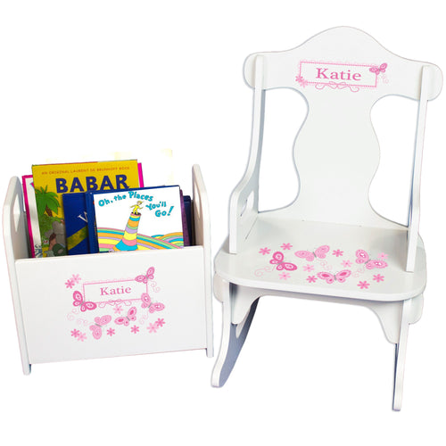 Personalized Puzzle Rocker And Book Caddy baby gift set With Pink Butterflies Design