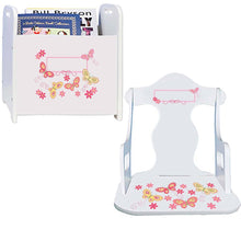 Personalized Puzzle Rocker And Book Caddy baby gift set With Yellow Butterflies Design