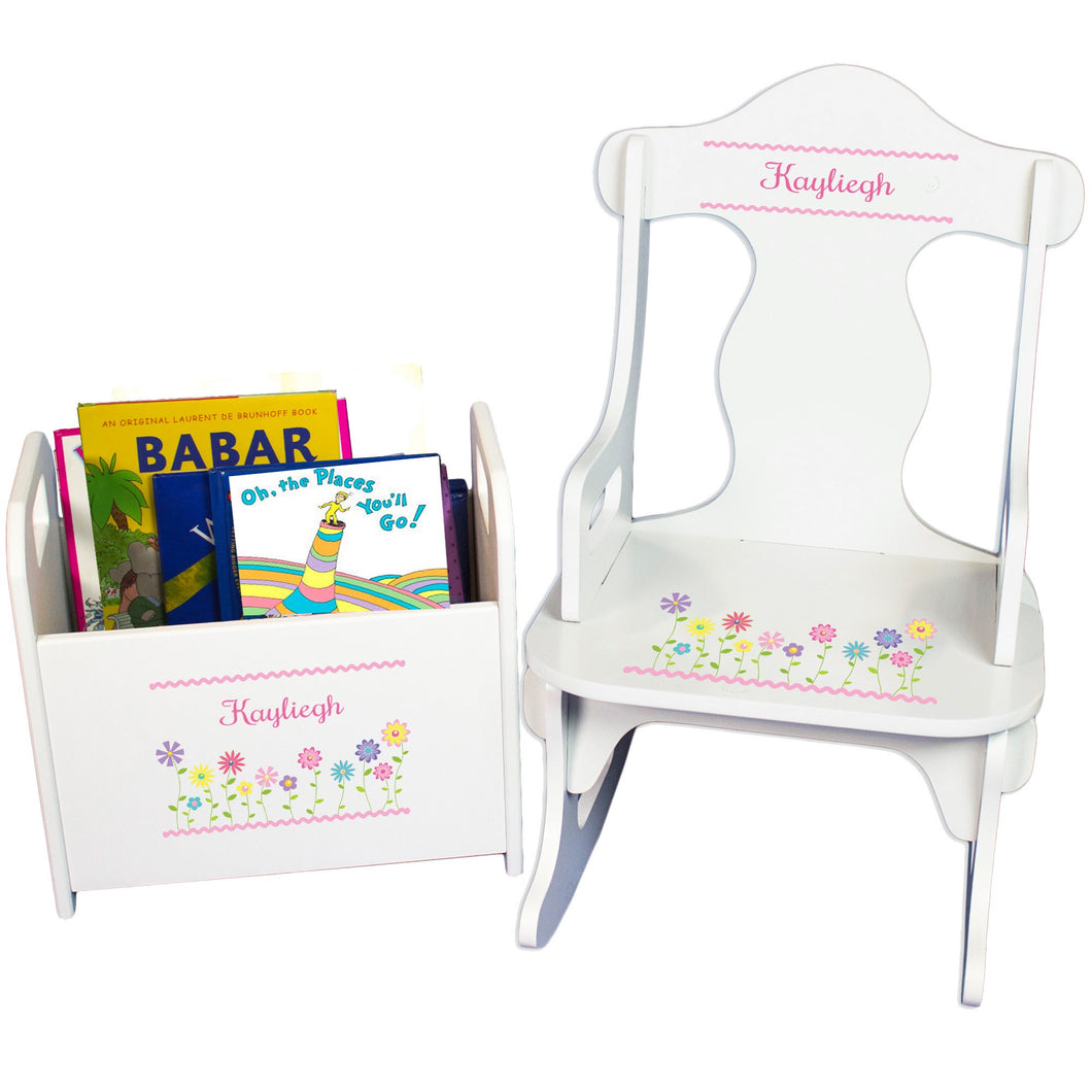 Personalized Stemmed Flowers Book Caddy And Puzzle Rocker baby gift set
