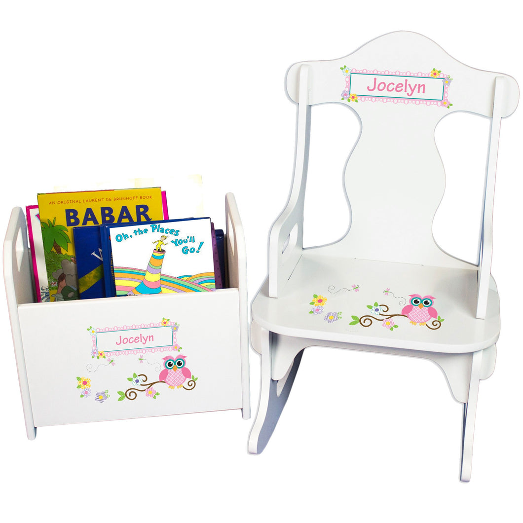 Personalized Pink Owl Book Caddy And Puzzle Rocker baby gift set