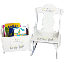 Personalized Yellow Elephants Book Caddy And Puzzle Rocker baby gift set