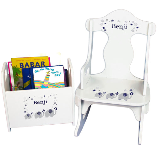 Personalized Navy Elephant Book Caddy And Puzzle Rocker baby gift set
