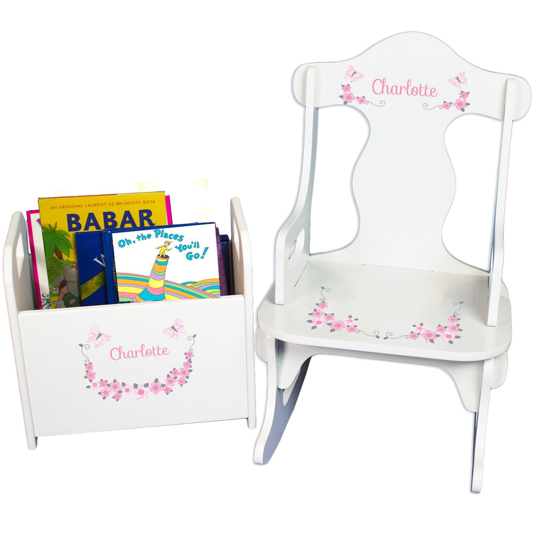 Personalized Pink And Gray Butterflies Book Caddy And Puzzle Rocker baby gift set