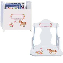 Personalized Ponies Prancing Book Caddy And Puzzle Rocker baby gift set