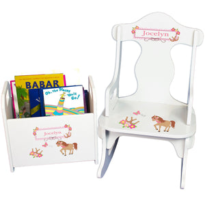 Personalized horse Rocker baby gift set