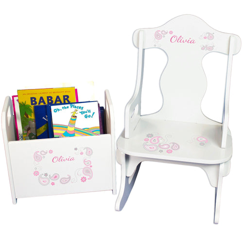 Personalized Paisley Pink Gray Book Caddy And Puzzle Rocker baby gift set