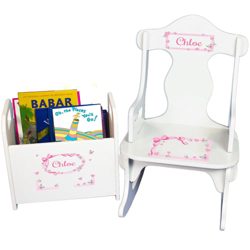 Personalized Girls Pink Bow Book Caddy And Puzzle Rocker baby gift set