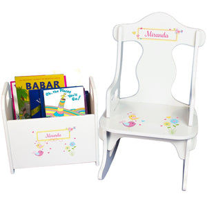 Personalized Lovely Birds Book Caddy And Puzzle Rocker baby gift set