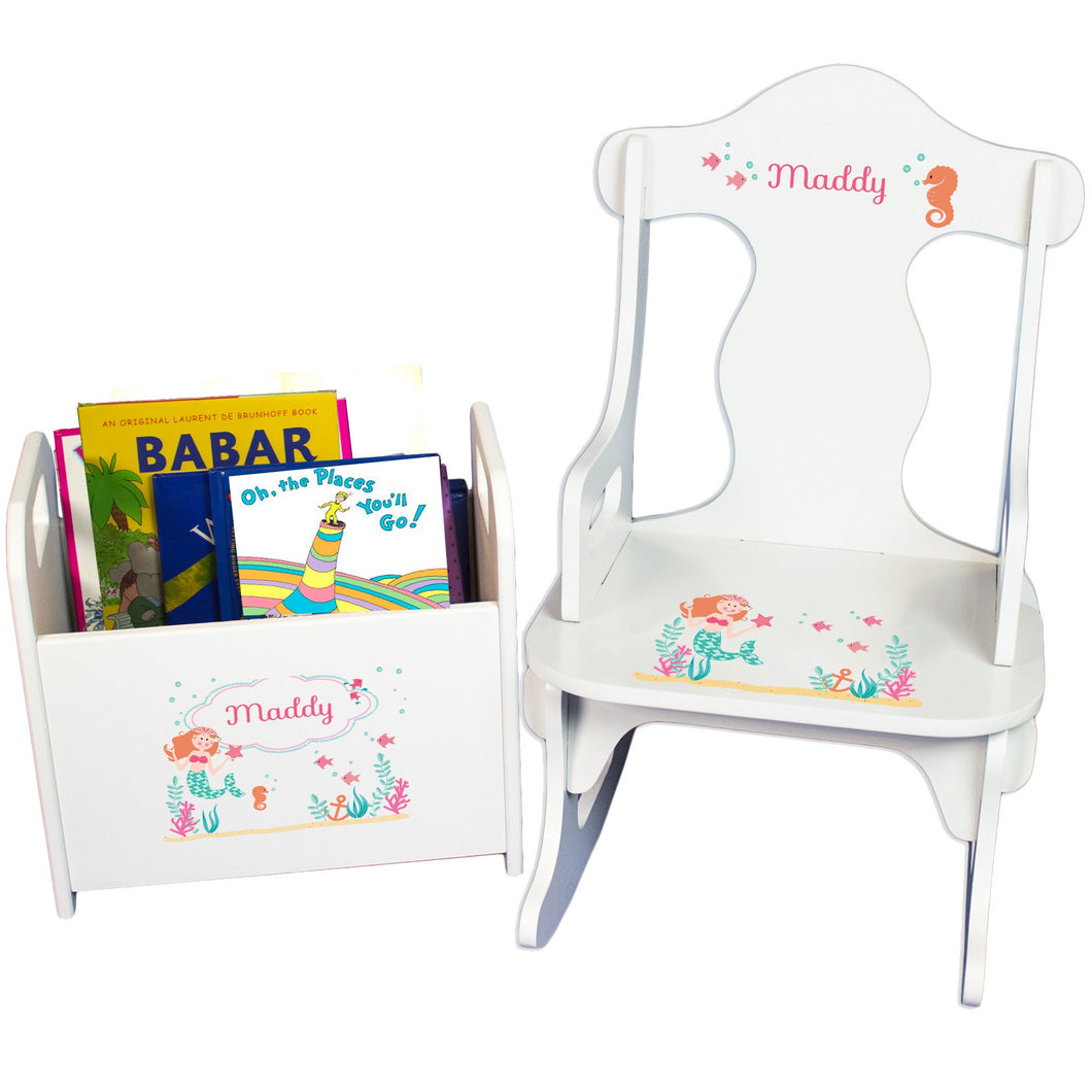 Personalized Mermaid Princess Book Caddy And Puzzle Rocker baby gift set