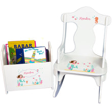 Personalized Brunette Mermaid Princess Book Caddy And Puzzle Rocker baby gift set