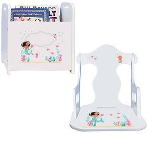 Personalized African American Mermaid Princess Book Caddy And Puzzle Rocker baby gift set
