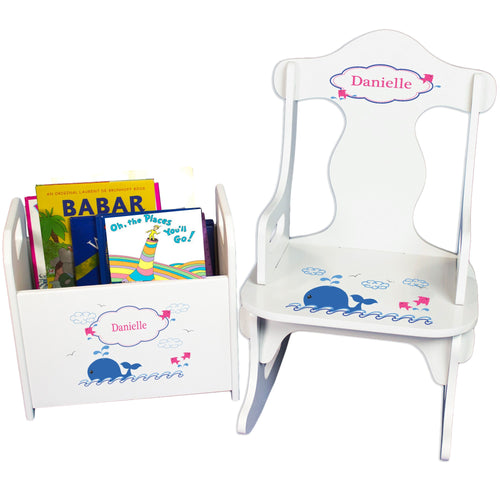 Personalized Pink Whale Book Caddy And Puzzle Rocker baby gift set