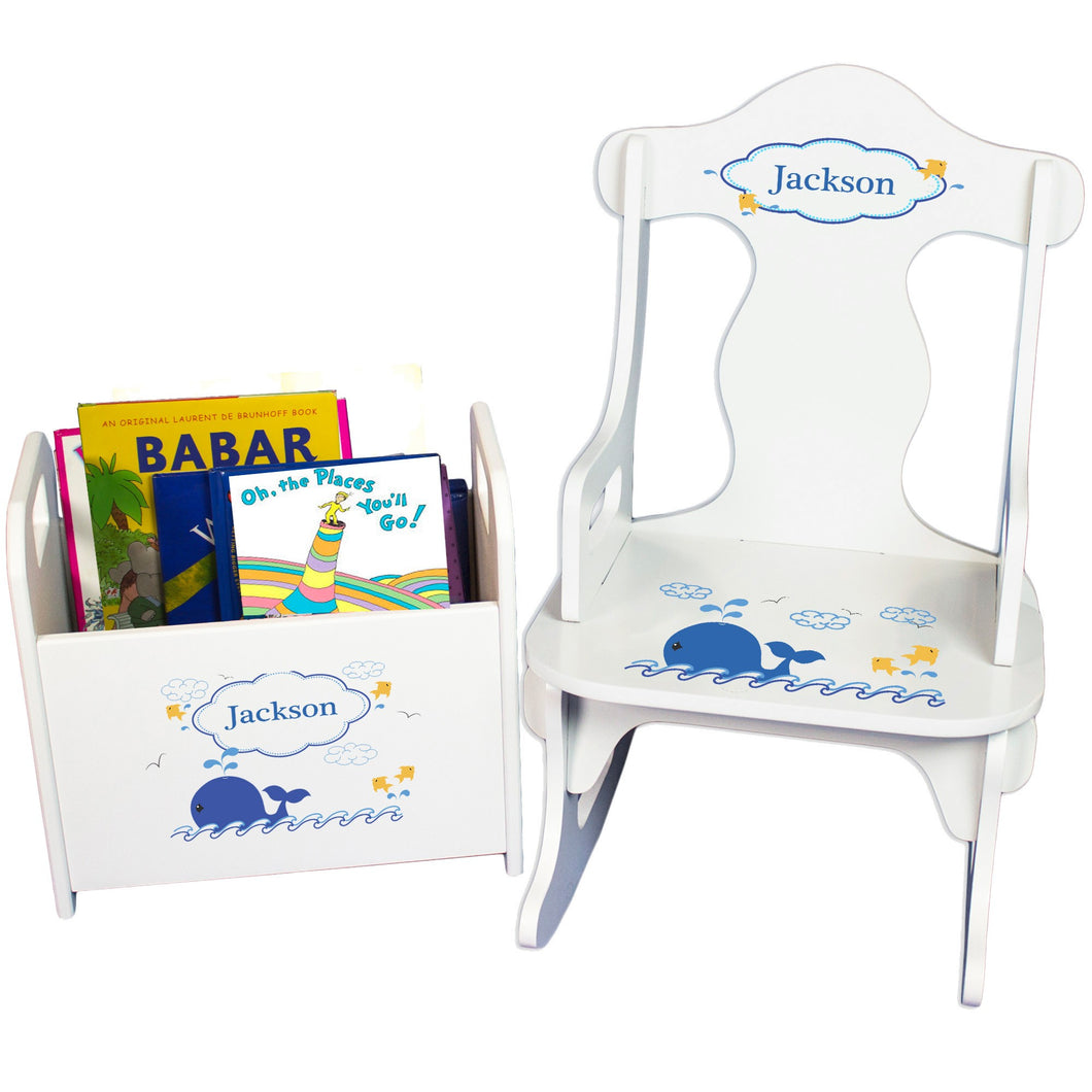 Personalized Blue Whale Book Caddy And Puzzle Rocker baby gift set