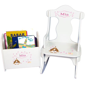 Personalized Pink Puppy Book Caddy And Puzzle Rocker baby gift set