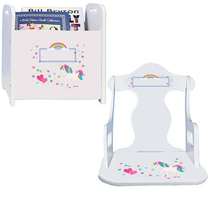 Personalized Unicorn Book Caddy And Puzzle Rocker baby gift set