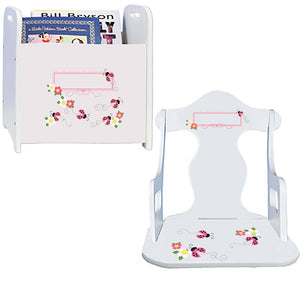 Personalized Pink Ladybugs Book Caddy And Puzzle Rocker baby gift set