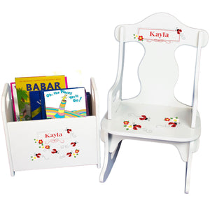 Personalized Red Ladybugs Book Caddy And Puzzle Rocker baby gift set
