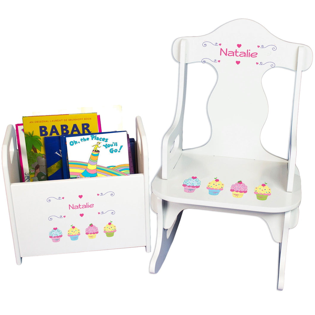 Personalized Cupcake Book Caddy And Puzzle Rocker baby gift set