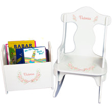 Personalized Floral Garland Book Caddy And Puzzle Rocker baby gift set