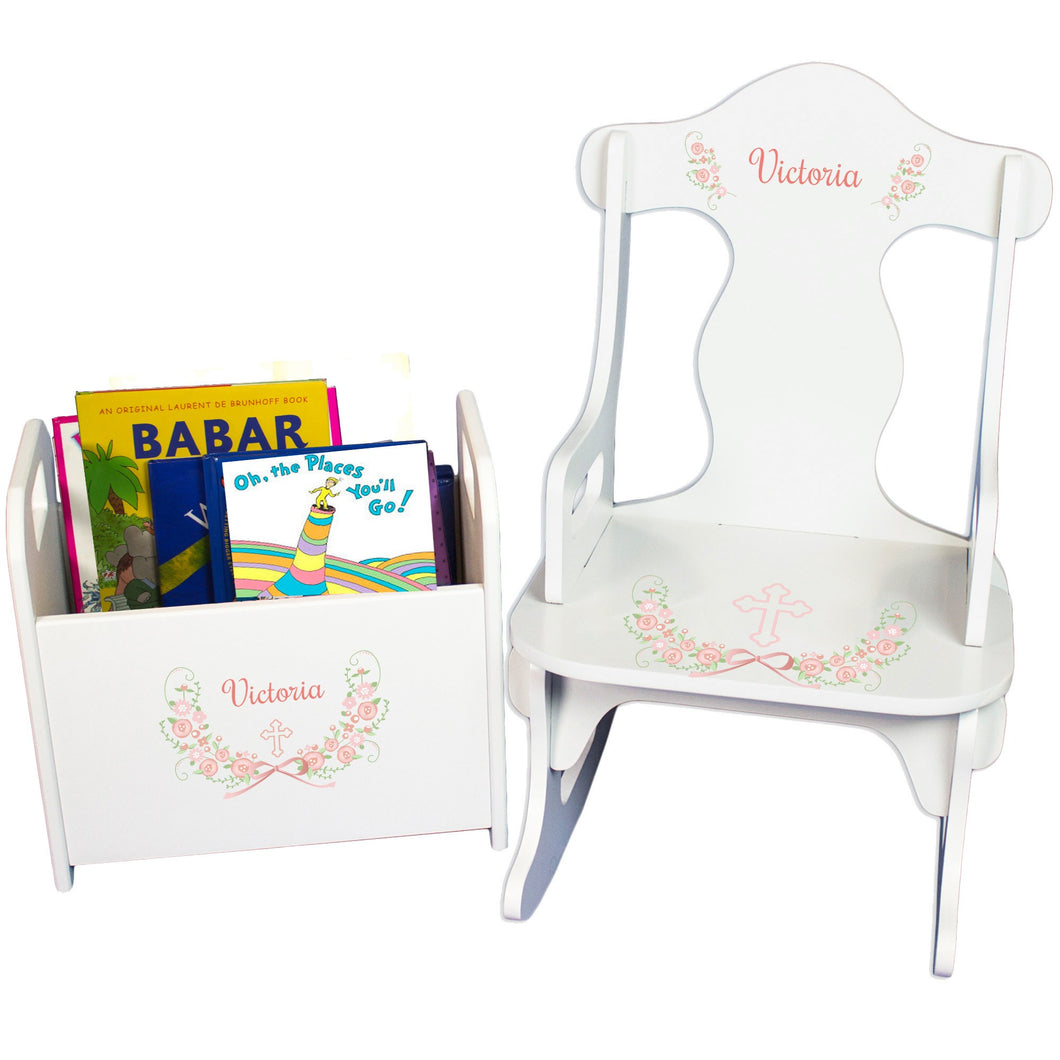 Personalized Girls Blush Baptism Caddy And Puzzle Rocker baby gift set