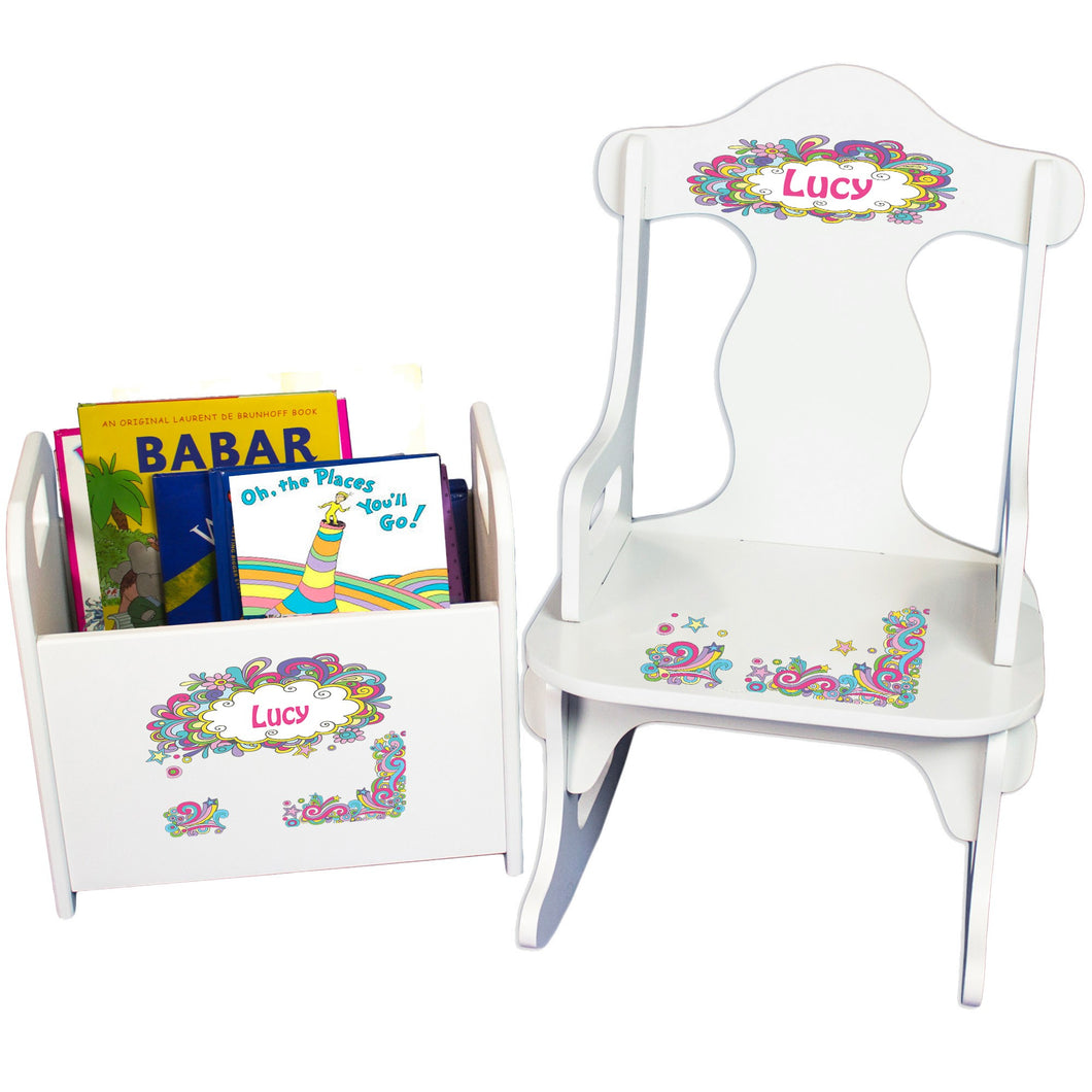 Personalized Groovy Swirl Book Caddy And Puzzle Rocker baby gift set